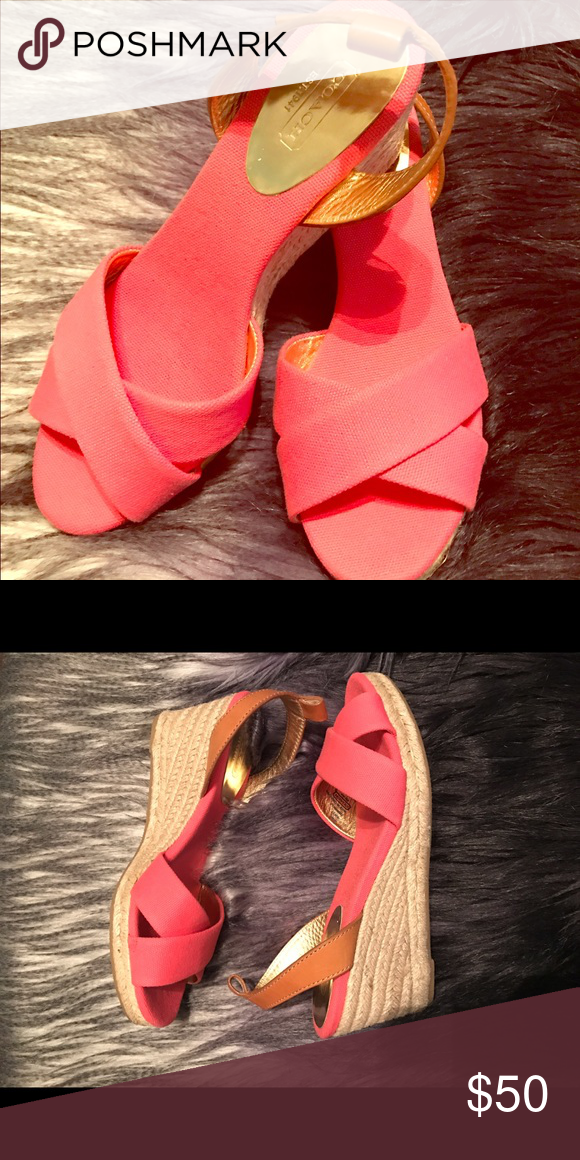Coach Hot Pink Espadrille Wedges Adorable for Summer! Worn only once, very little to no wear! Coach Shoes Wedges