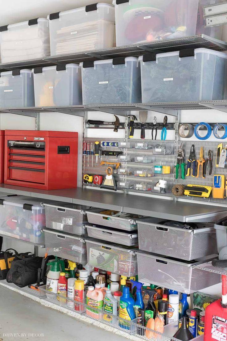 Garage Organization Tackling Our Crazy Mess With Elfa Organisation De Garage Amenagement Garage Et Bricolage Maison