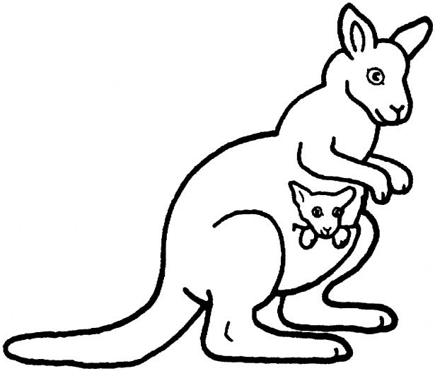 Kangaroo Mother And Baby Coloring Page