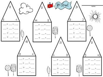 Fact Family Neighborhood Fact Family Worksheet Multiplication