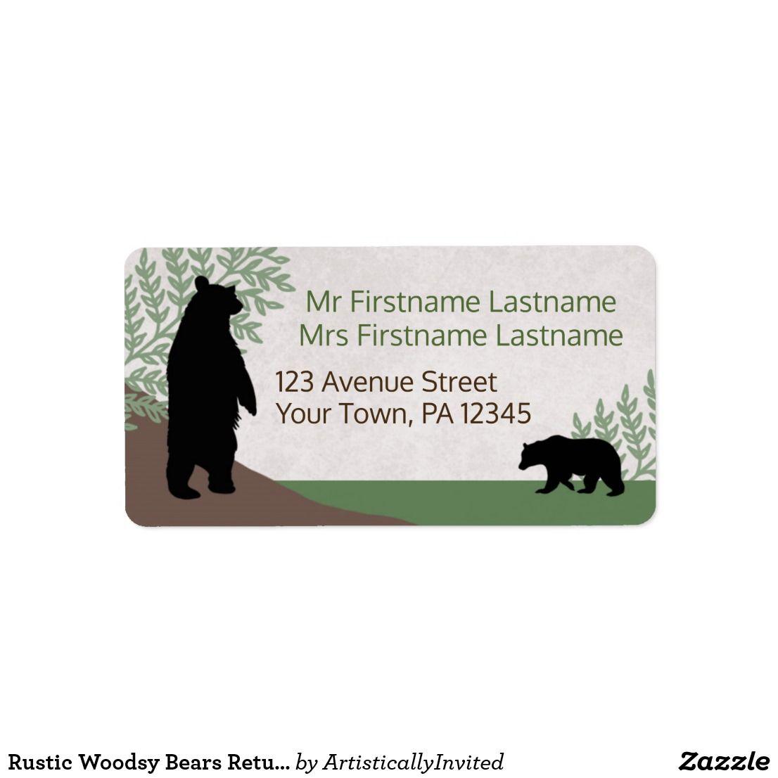 rustic woodsy bears return address labels celebrations pinterest