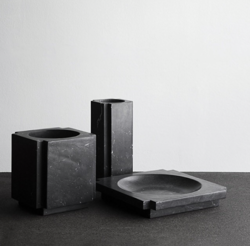 Maxenrich Kros Tray Vase Pot Cross Shaped Pieces In Nero Marquina Designed By Michael Verheyden Black Marble Marble Vase Marble Design
