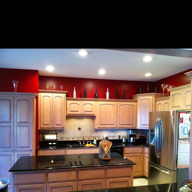 I Like The Bold Color Up Top. Red Kitchen With Black And