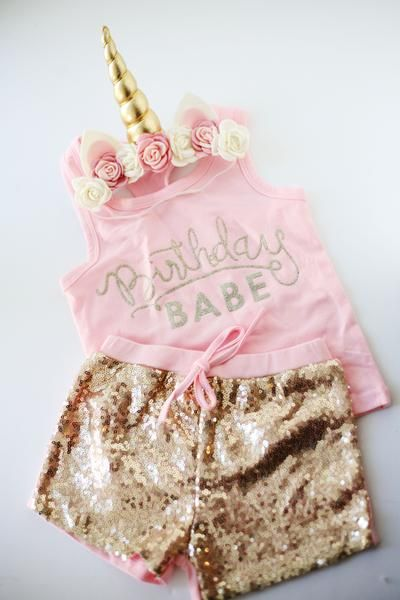 a37fd076 First Birthday pink and gold sequin shorts with matching unicorn headband  crown from birdie baby boutique