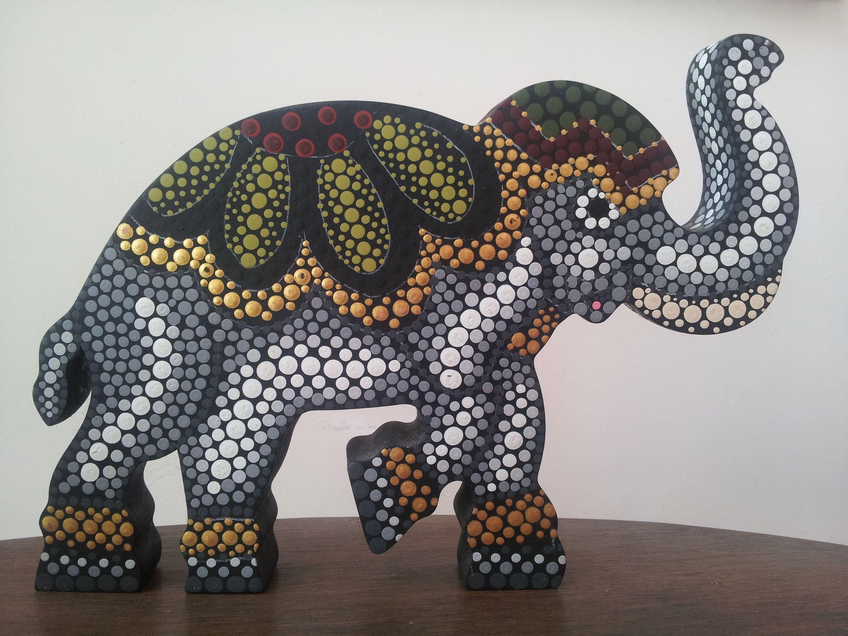 Elefante en mdf pintado con la técnica de puntillismo | Pintura ...