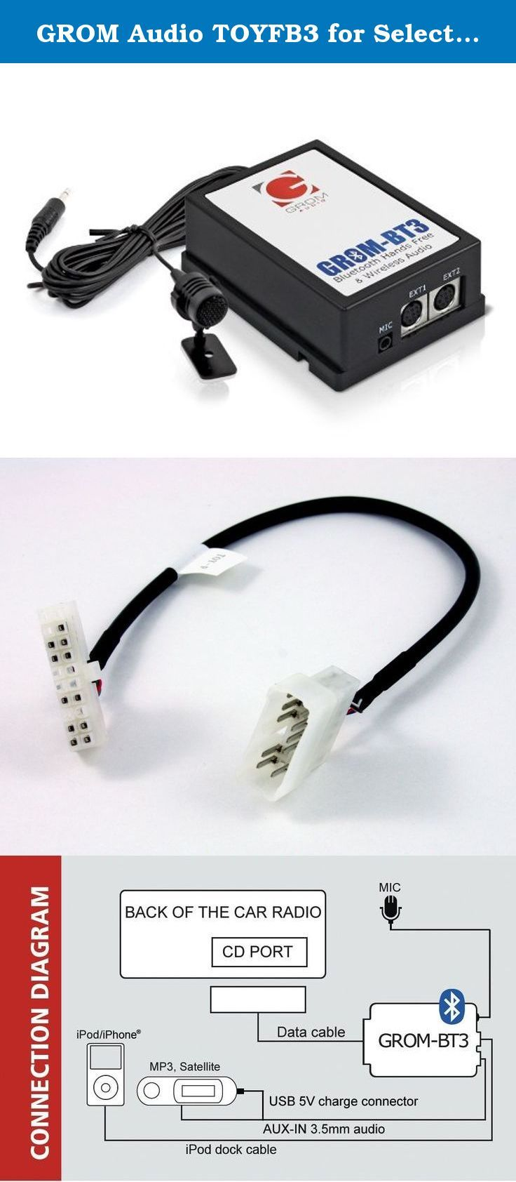 medium resolution of grom audio toyfb3 for select lexus non nakamichi stereo bluetooth adapter auxiliary android ipod