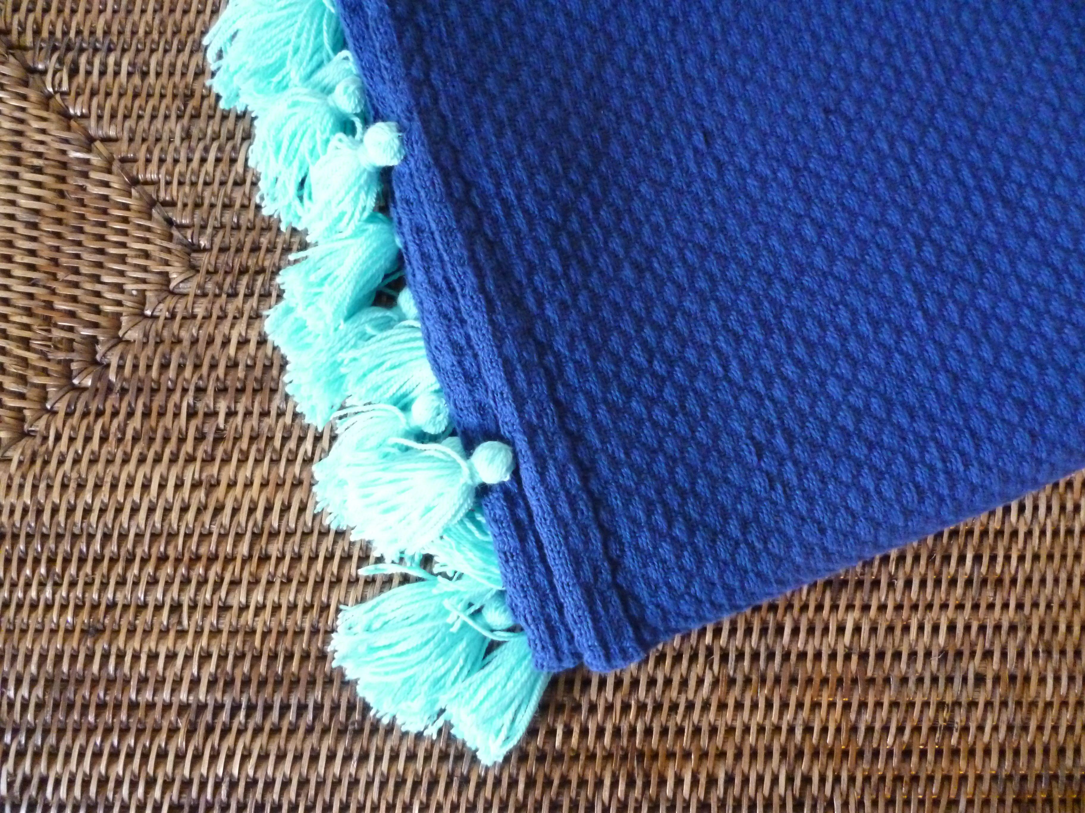 Manta azulão com borlas verde água 130 x 160 cm: Preço 30,00 €
