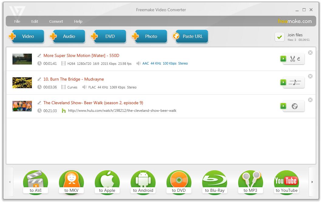 Convert video free to AVI, MP4, WMV, MKV, MPEG, 3GP, DVD