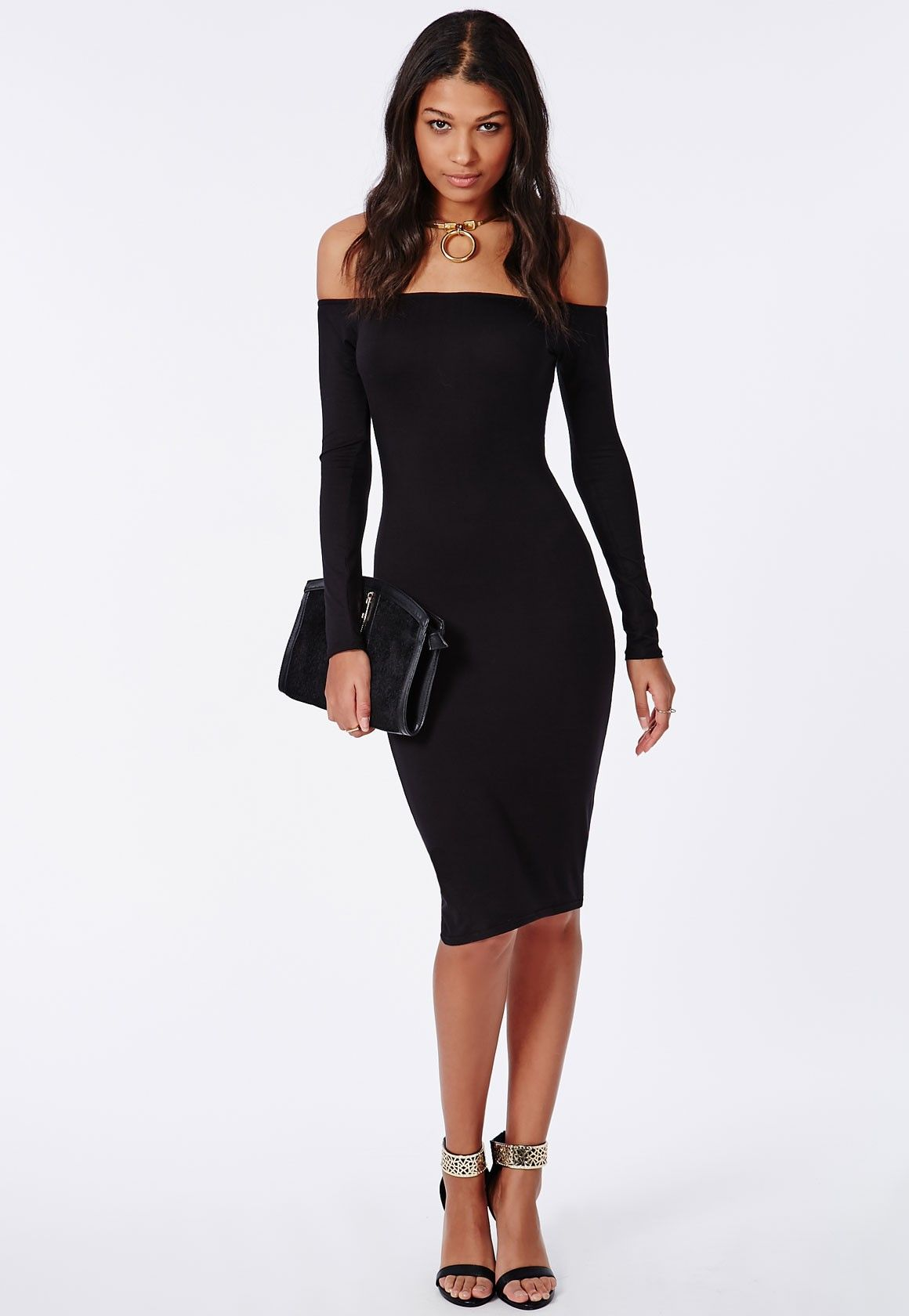 ad65b2e9a2a Missguided - Long Sleeve Jersey Bardot Bodycon Midi Dress Black ...