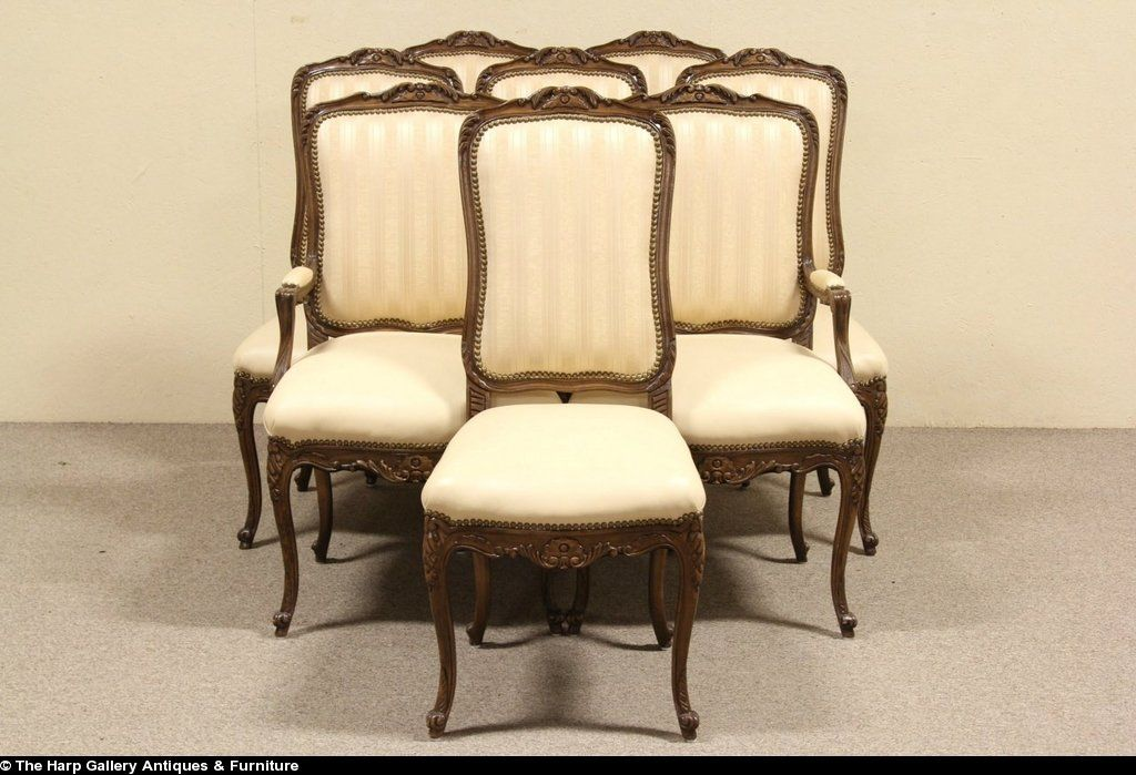 Set Of 8 Country French Leather Trouvailles Dining Chairs