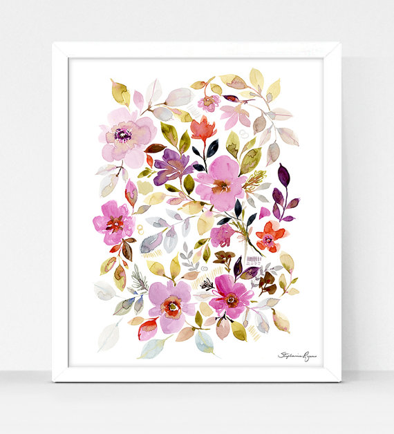 Art Print Floral Garden | Watercolor, Caligraphy and Art prints