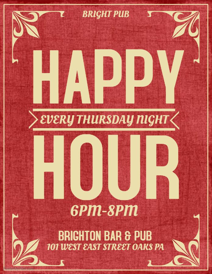 Red Bar Flyer Template Happy Hour Thursday Click On The Image To Customize PosterMyWall