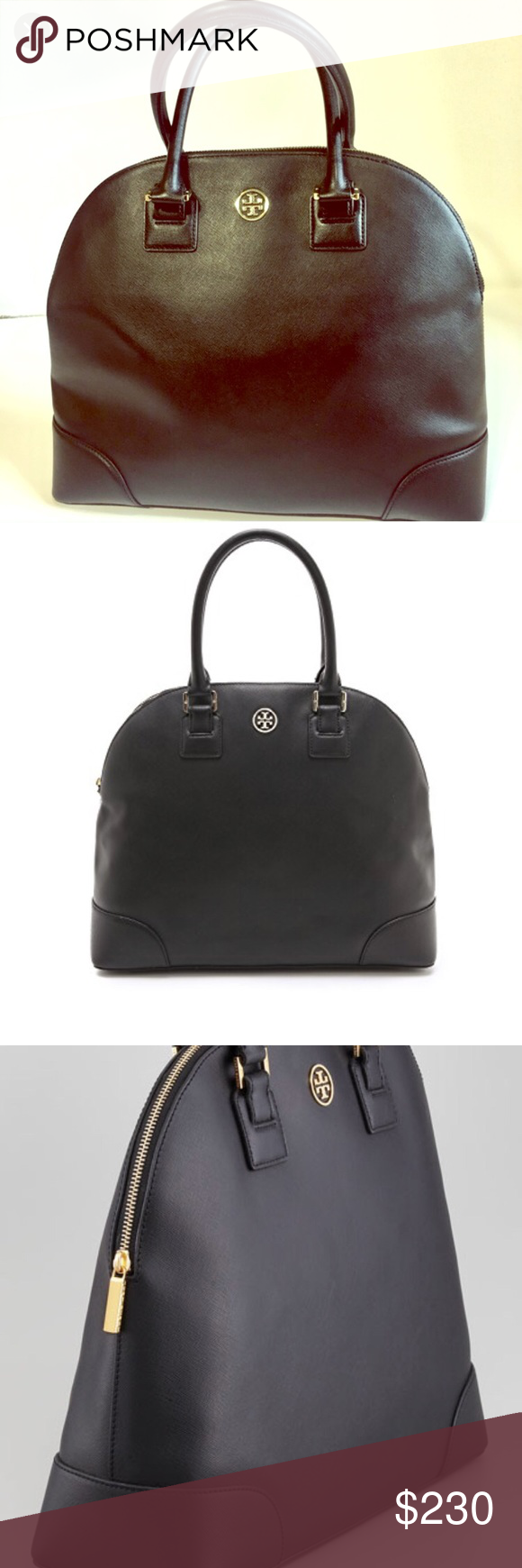Tory Burch Tote Black Leather Authentic Large Robinson Dome Zipper Broken But Can Be Repaired Bags Totes