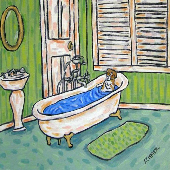 JACK RUSSEL TAKING A BATH  11x14 terrier dog art print