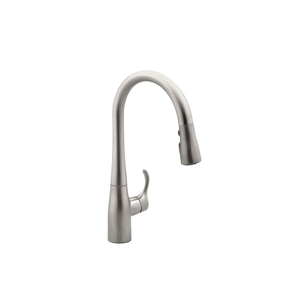 KOHLER Simplice Single-Handle Pull-Down Sprayer Kitchen Faucet in ...
