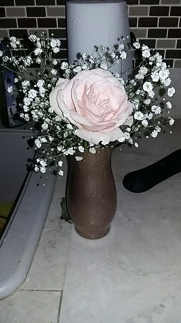Cheap centerpiece possibility pink rose and babys breath bouquets cheap centerpiece possibility pink rose and babys breath izmirmasajfo