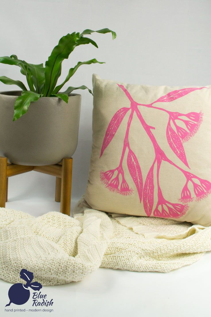 Nature inspired cushion cover with pink gum blossom print throw