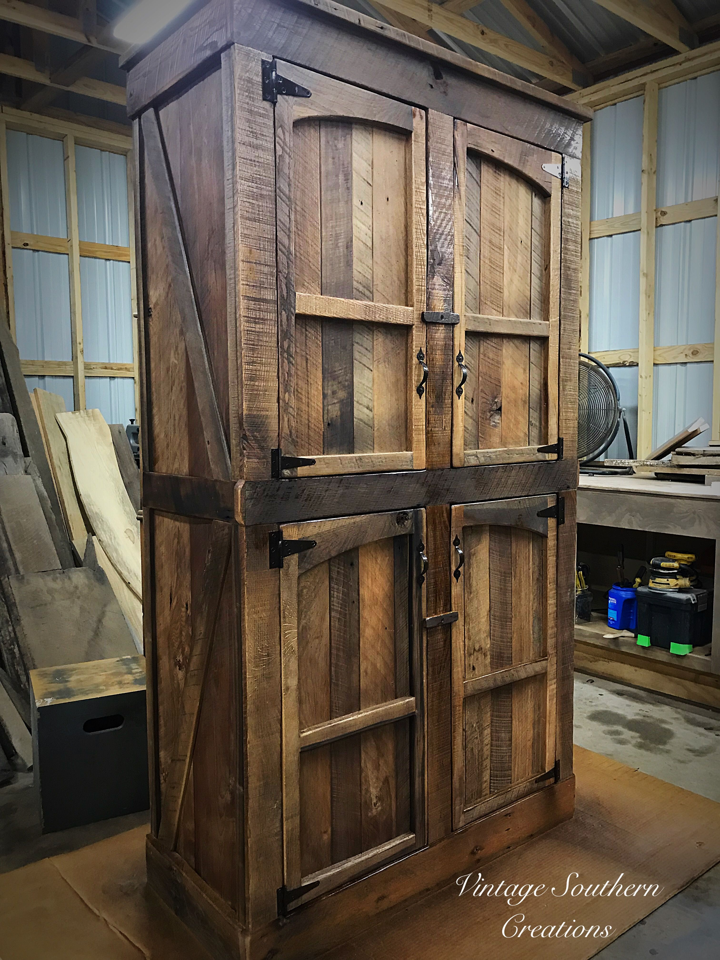 Farmhouse Pantry Built From Reclaimed Barn Wood By Vintage Southern Creations Reclaimed Barn Wood Barn Wood Rustic Pantry Cabinets