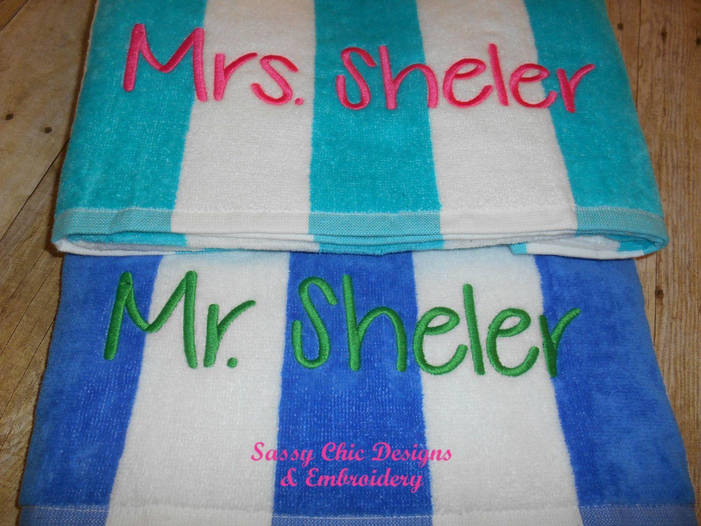 Mr And Mrs Beach Towels Pool Towels Bride And Groom Beach Towels