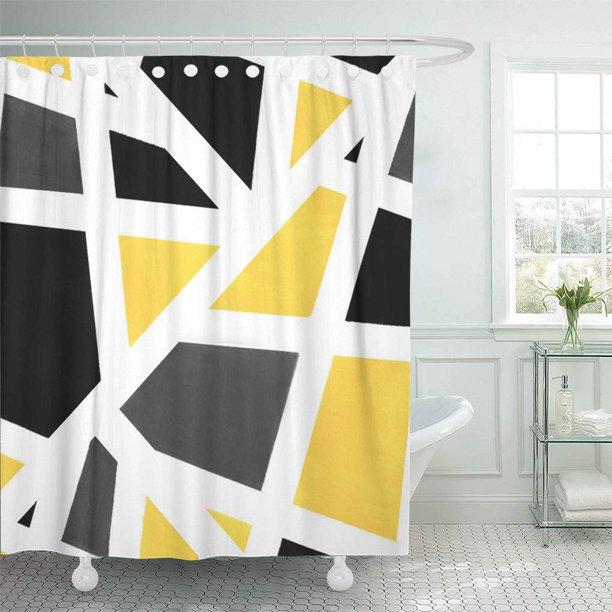 Cynlon Acrylics Yellow Gray Black White Geometric Modern Stripes Bathroom Decor Bath Shower Curtain 60x72 Inch Walmart Com In 2020 Gray Shower Curtains Yellow Bathroom Walls Striped Shower Curtains
