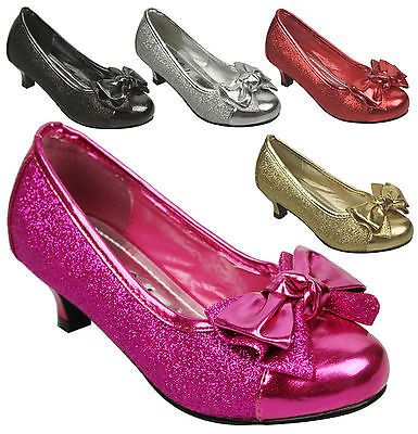 NEW Kids Girls Glitter Bow Dorothy Pumps Low Kitten Heel Party ...