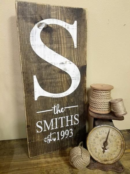 Monogram The Last Name Family Est Year Diy Signs Wood Crafts Diy Decor