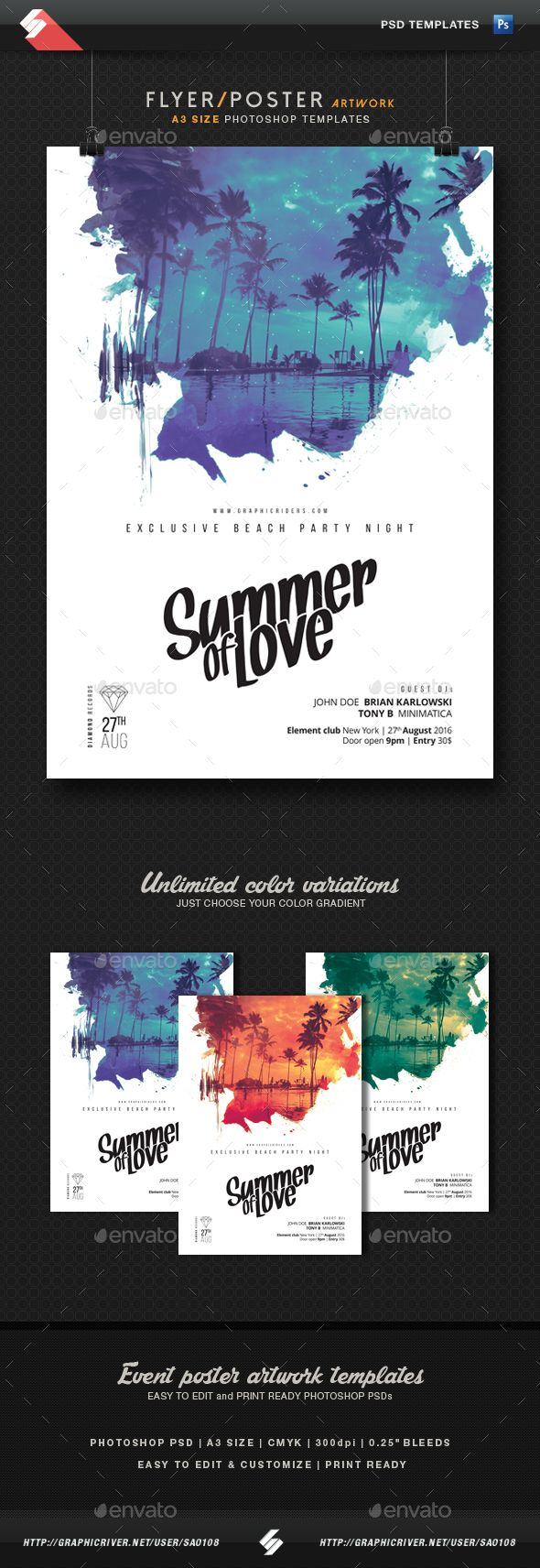 Summer Of Love - Party Flyer, Poster Template A3 | Pinterest | Party ...