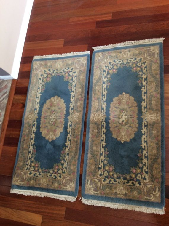 Shabby Pande Cameron Of New York Set 2 Blue Fl Rugs Hand Woven In India Genuine Ch Chic Thequeensantiques