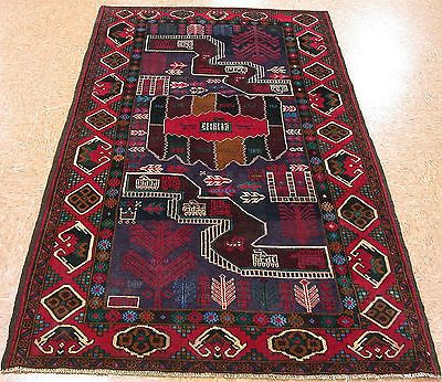 4 X 7 Baluch Tribal Hand Knotted Wool Pictorial Red Green Blue New Oriental Rug Wool Area Rugs Oriental Rug Rugs