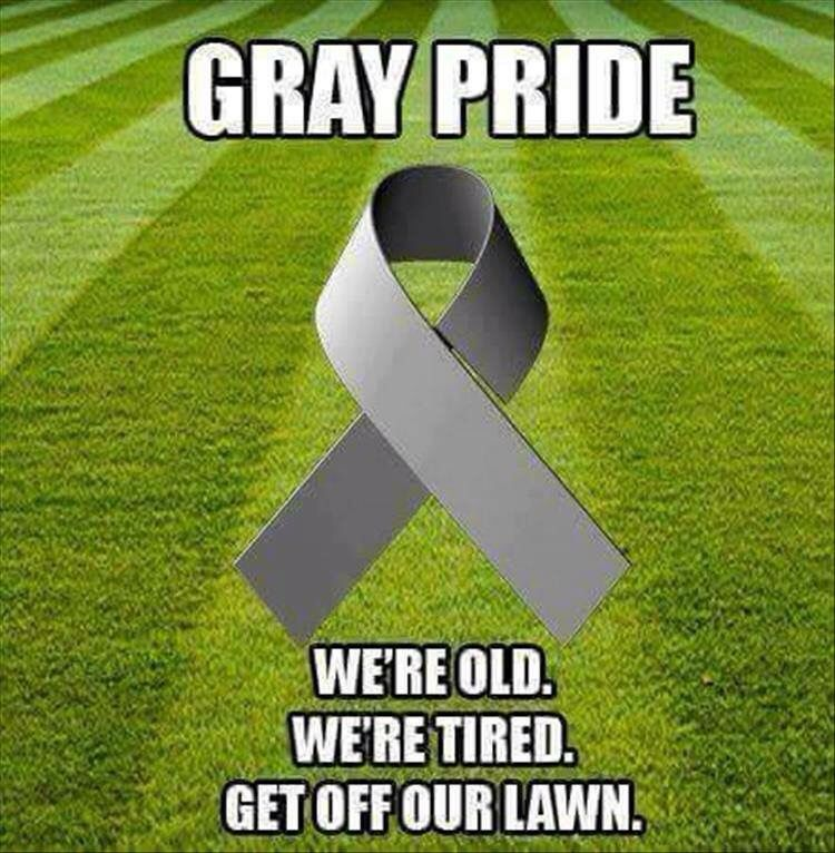 GRAY PRIDE We're old. We're tired. Get off our lawn. Get