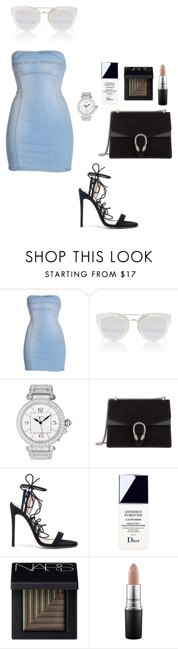 """""""Untitled #1726"""" by whosay ❤ liked on Polyvore featuring Dsquared2, Christian Dior, Cartier, Gucci, Bionda Castana, NARS Cosmetics and MAC Cosmetics"""