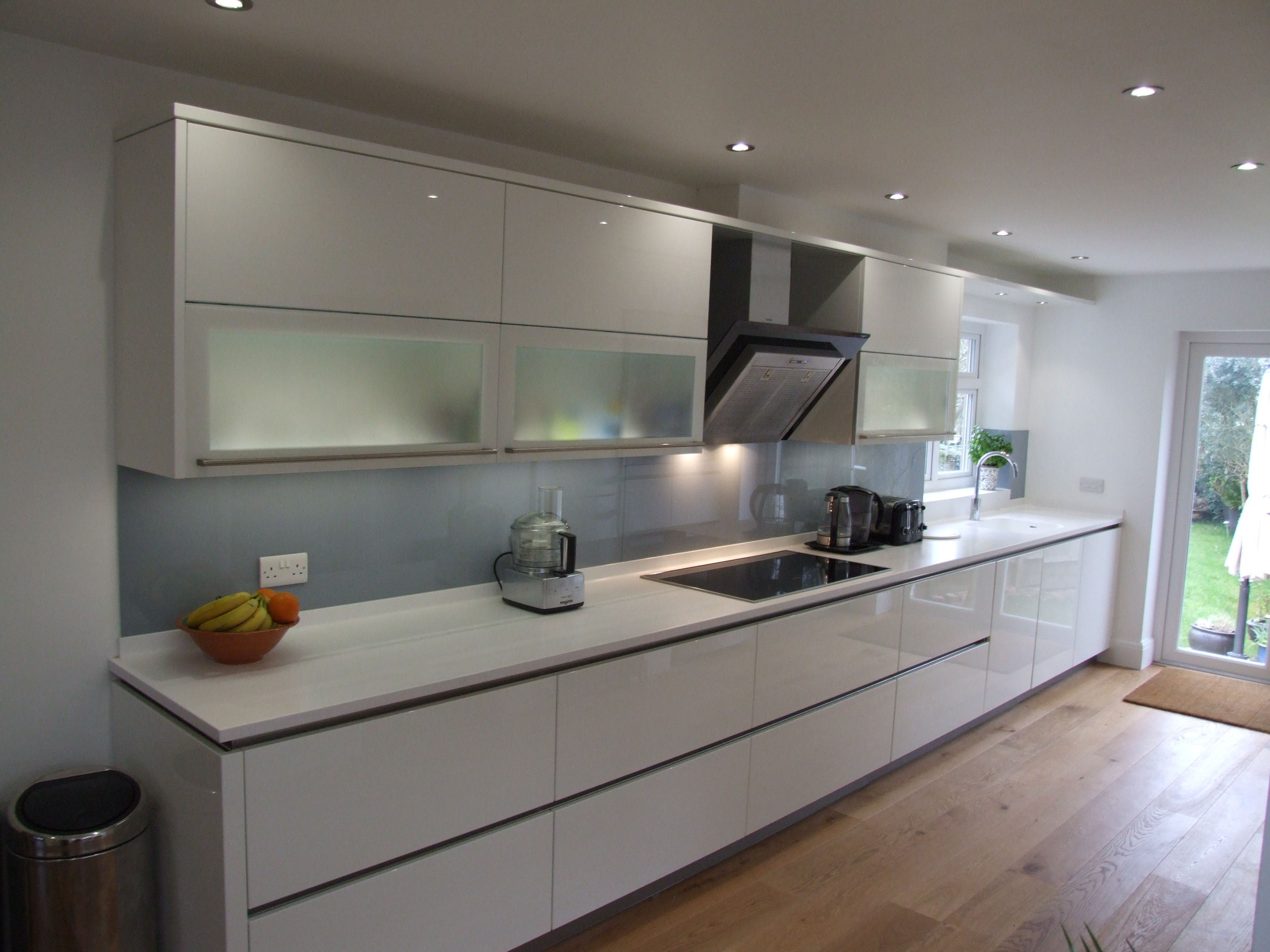 A French Grey Glass Splashback Is A Great Addition To An All White