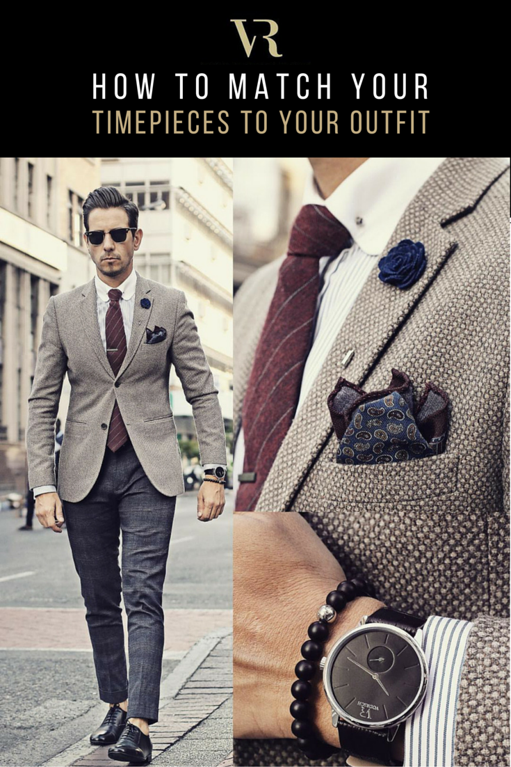 HE STYLE OF WATCH YOU CHOOSE TO WEAR NEEDS TO MATCH THE FORMALITY OF YOUR OUTFIT! Here are the top 5 watch-matching rules that are timeless and relevant in any situation. #VODRICH