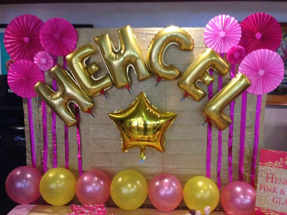 Pink Gold Glam Birthday Party Ideas Balloon backdrop Metallic