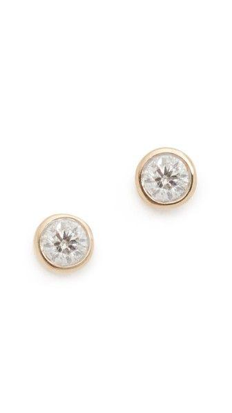 14k Gold Single Diamond Stud Earrings