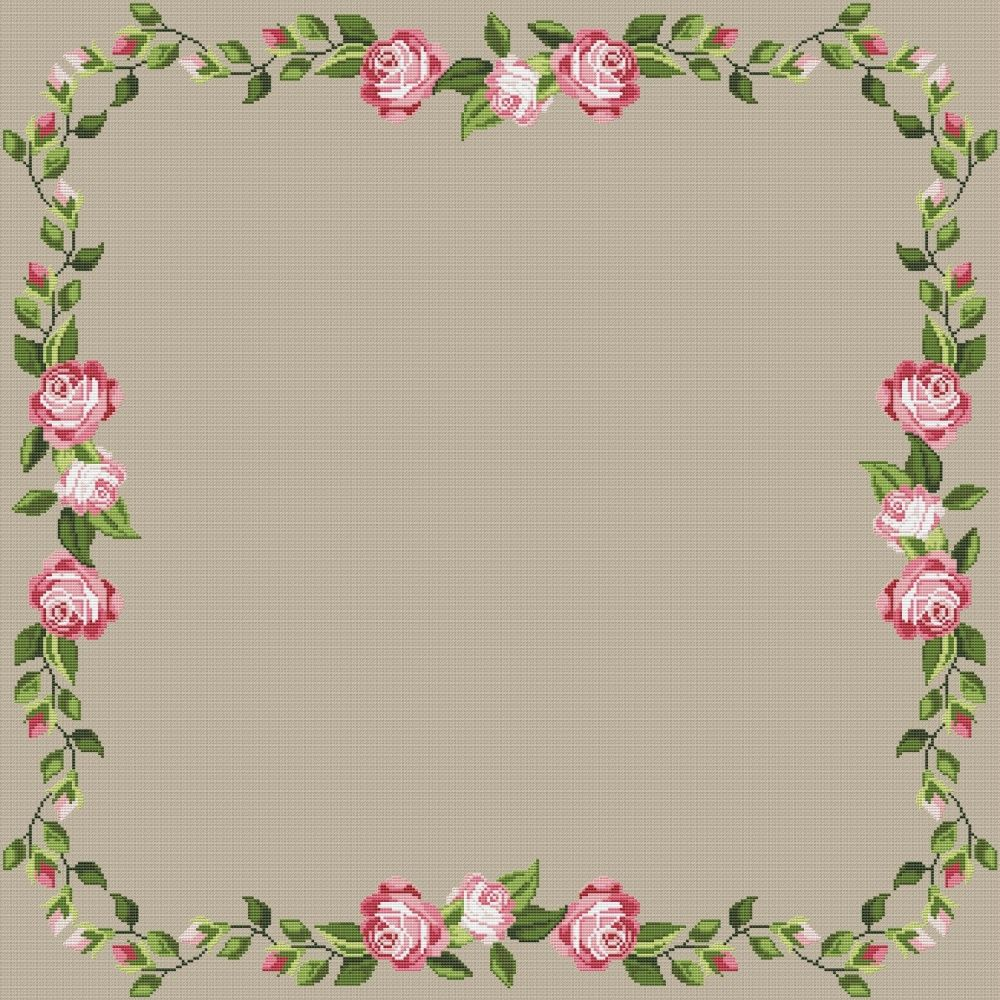 Rose Motif For Tablecloth 1 Cross Stitch Pattern Cross Stitch Patterns Cross Stitch Rose Stitch Patterns