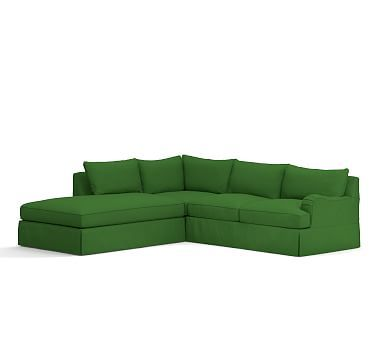 PB Comfort English Arm Right Arm 3-Piece Bumper Sectional Slipcover, Knife Edge, Linen Blend Grass Green