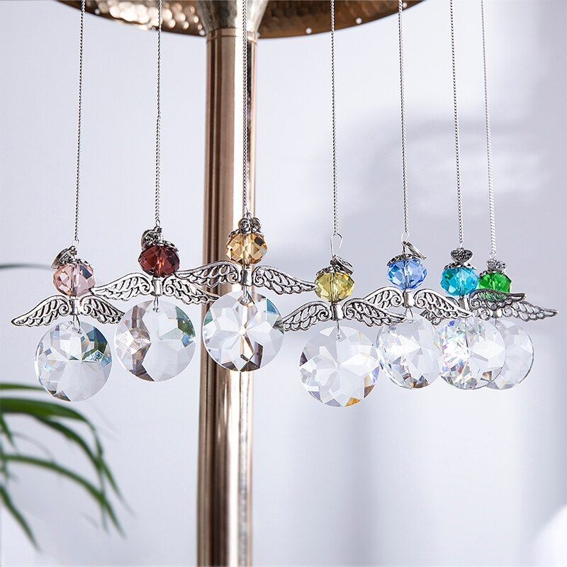 7pcs Rainbow Guardian Angel Crystal Suncatcher For Home Car Decoration Porch Decor Hangings Crystal Glass Crystal Suncatchers Suncatchers Hanging Pendants