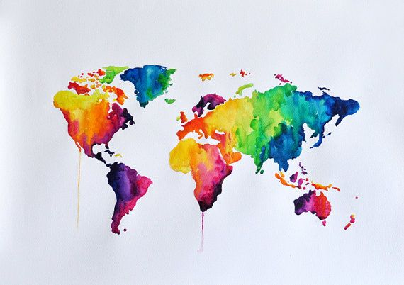 Original abstract world map watercolor painting large rainbow original abstract world map watercolor painting large rainbow colored decorative painting 20x28 inch gumiabroncs Gallery