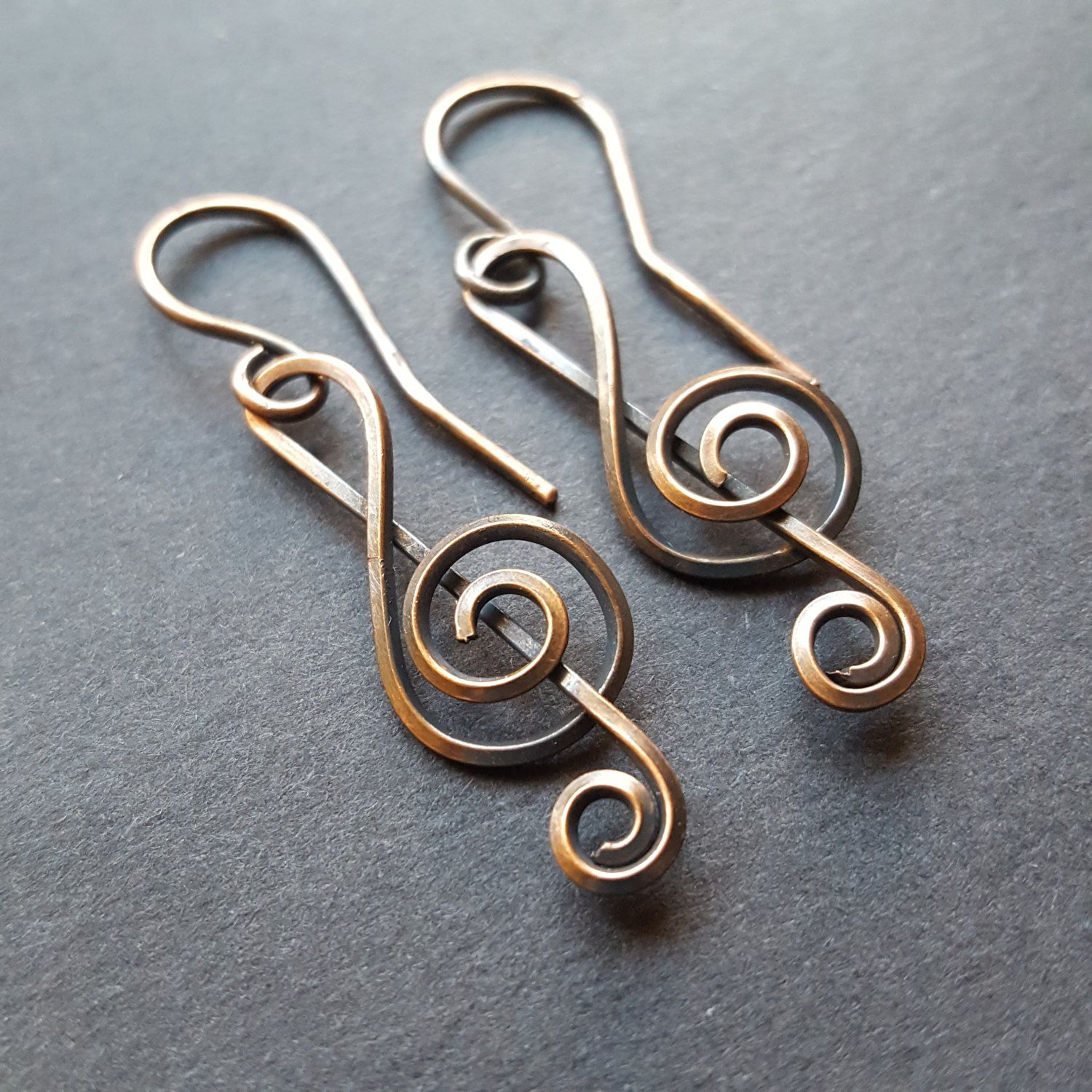 Treble Clef Earrings, Music Note Jewelry, Oxidized Copper Jewelry ...