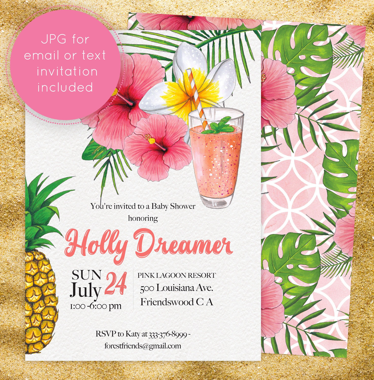 Aloha Baby Shower Invitation Pineapple Invites for Boy Girl, Luau ...
