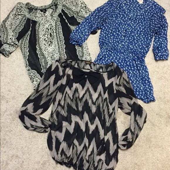 5-Sheer Blouses!!! See both pics!! Bundle of 5!! The tag sizes range but they all fit like a medium/large. Loose fitting. Option to wear long sleeve or buttoned up to half sleeve (on some) in pre-loved condition! Tops Blouses