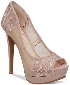 """Jessica Simpson Saidey Lace Platform Pumps Jessica Simpson's Saidey pumps combine lace and embroidery details with a bold platform heel for fabulously elegant style. Round peep-toe slip-on platform pumps Lace and embroidery details 1-1/4"""" platform, 5"""" heel Mesh fabric/embroidery upper; manmade sole Imported"""
