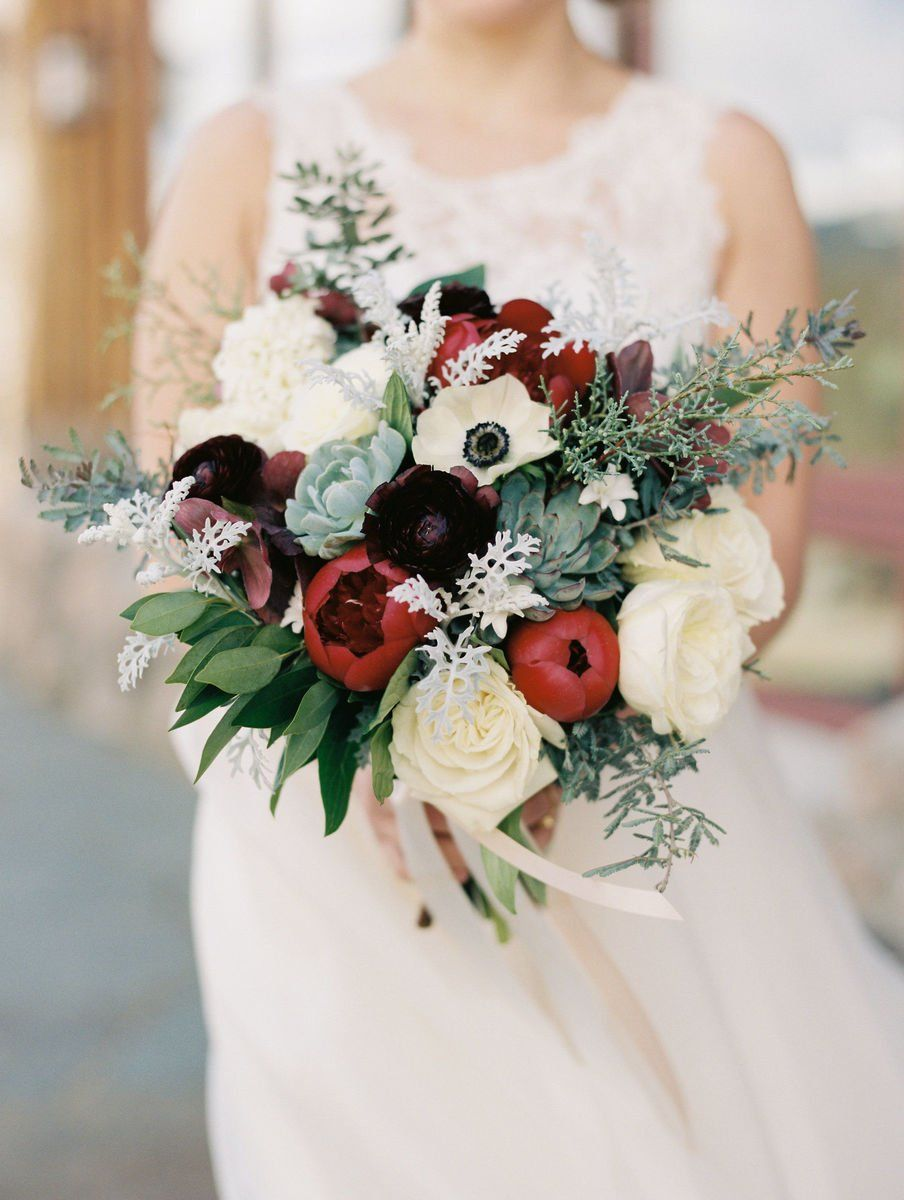 Romantic Wedding Bouquet Idea White Burgundy Flower And