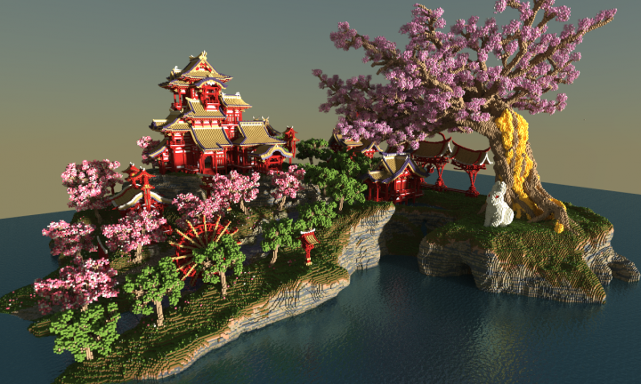 april cherry tree sakura island minecraft project