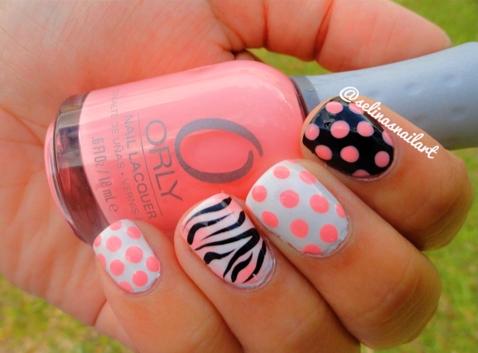 Diy Nail Art Polka Dot And Zebra Print Nails Pinterest Zebra