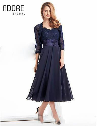 373cbd000494 Custom tea length elegant navy blue mother of the bride dress with jacket  new modest illusion