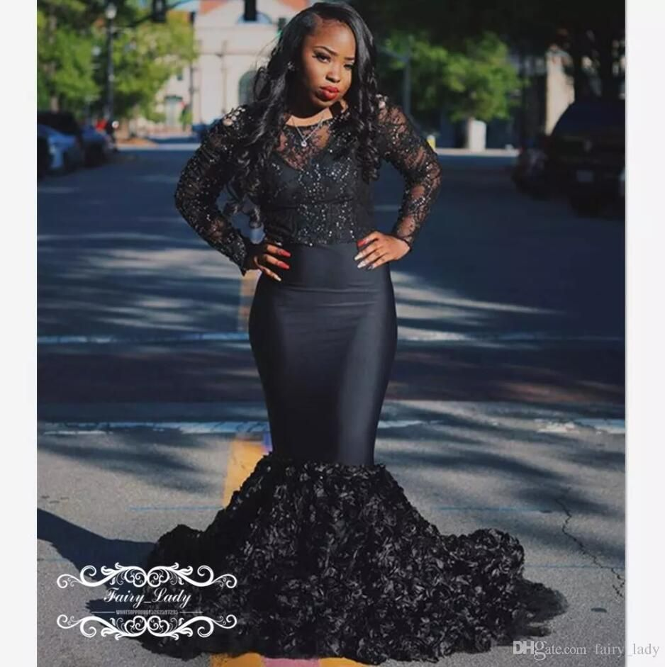 rose flowers black sheer lace prom dresses with long sleeves