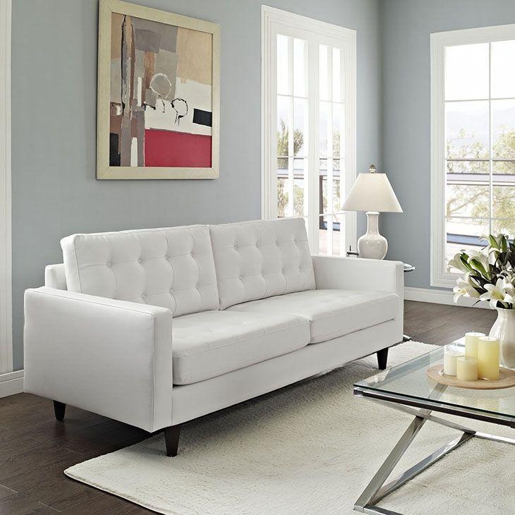 Lexmod Empress Leather Sofa In White White Leather Sofas White Leather Couch Modern White Sofa