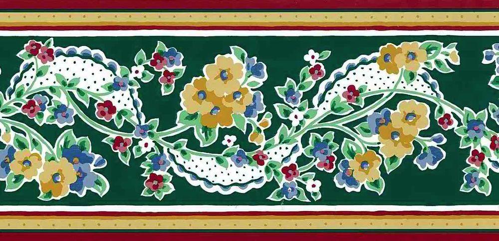WAVERLY Dark Green Yellow White VINTAGEA Floral Wallpaper